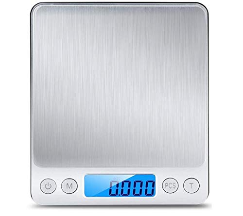 BOBO-Y Básculas para Alimentos de Cocina,2 Bandejas Balanza digital de Acero Inoxidable, 3000g / 0.1g, pantalla LCD grande y diseño de plataforma de pesaje grande ultra delgado...