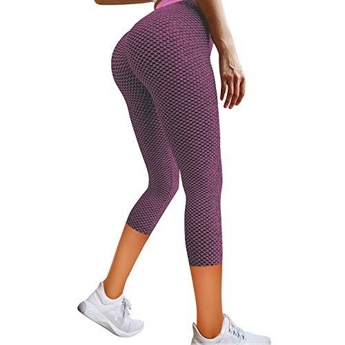 VICIKON Performance Pro Tights Damen,Frauen Stretch Yoga Leggings Fitness Running Gym Sporttaschen Active Pants(Rosa,S