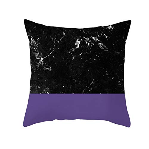 AtHomeShop 45 x 45 cm cushion covers, decorative cushion covers in polyester with stone texture puzzle, soft, comfortable for sofa, bedroom, office, car, living room decoration, purple black, style 17