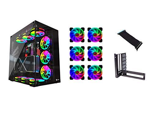 Talius Cronos Caja Gaming ATX, Cristal Templado + 9 Ventiladores Iris Spectrum RGB + Adaptador VGA Riser Vertical (Disponible en Dos Colores)