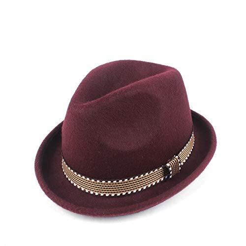 YUANBO WU Gentleman Cap Topper Sombrero de Copa Sombrero de ala Jazz Atractiva Mujer de Piel Sombrero Inteligente (Color : Vino Rojo, Size : 56-58)