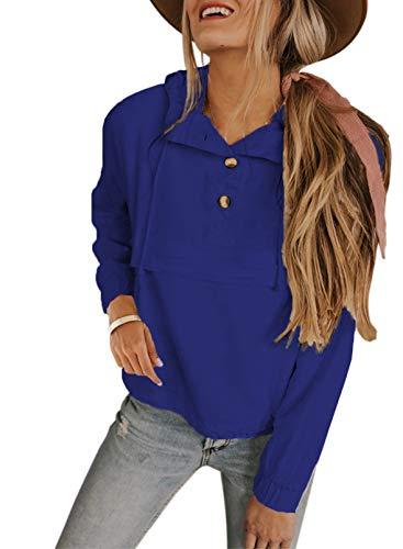 Sudadera de color sólido para mujer, con cuello de botón, con cordón, manga larga, elástico, color azul