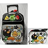 Angry Birds Large 16' Rolling School Backpack with Lunch Box - Silver Pocket
