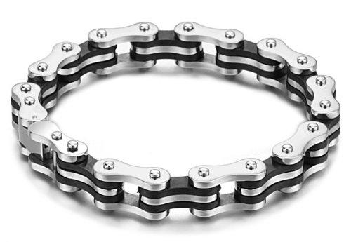 SunnyHouse New Men's Titanium Bracelet Harley Bike Chain Design Pain Relief Sporting