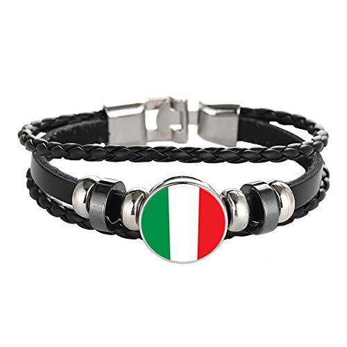 Italie Drapeau tressé Bracelet chaîne en Cuir Cristal Bracelet Souvenir, Mode Bracelet Fait à la Main pour Homme et Cadeau de Jour spécial Femme