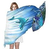 QMIN - Bufanda de seda, diseño de delfín, diseño de delfín, largo, ligero, para mujeres, niñas y mujeres