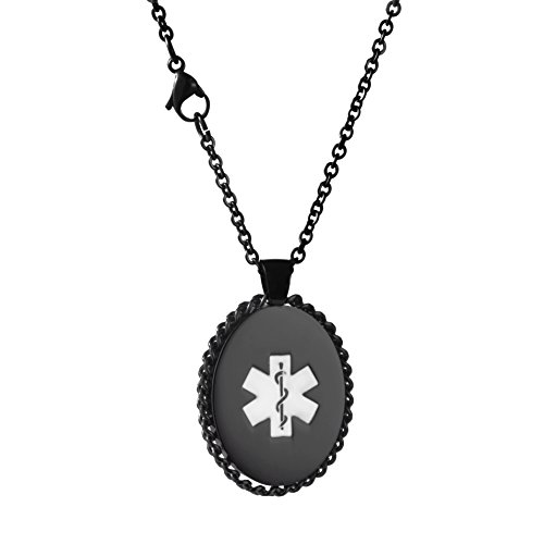Why Choose linnalove Black Oval Medical ID Necklace for Women with Free Engraving