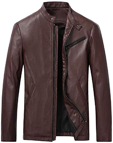 Mens Fall Winter Zip Up Faux Leather Stand Collar Regular Fit Faux Leather Moto Jacket Coat