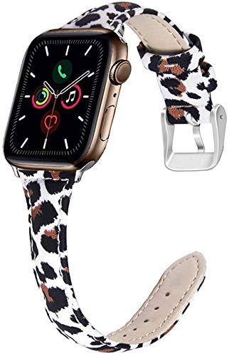OULUCCI - Correa de repuesto compatible con Apple Watch de 38 mm a 40 mm, muchos colores de banda de piel de grano superior, compatible con iWatch Series 5, 4, 3, 2/1