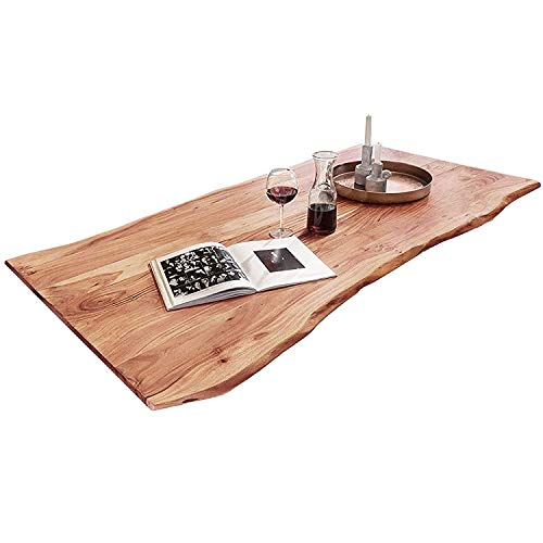 SAM Tischplatte 140x80 cm, Quarto, Akazie, naturfarben, stilvolle Baumkanten-Platte, Unikat