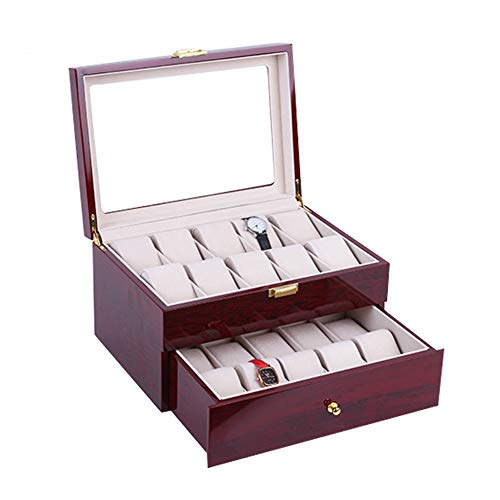 KLI Holz Uhrenbox für 20 Uhren XL Extra Große Fächer Uhr Vitrine Glas Top Schmuckkollektion Aufbewahrungsbox Organizer Männer/Frauen Kirschholz