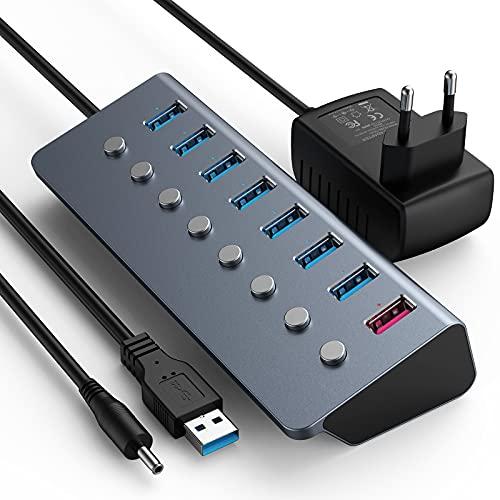 Hub USB 3.0 con alimentatore di rete 5 V 3 A, 8 porte USB, con visualizzazione indipendente on/off e LED per MacBook Air /Pro, iPad Pro 2020, Dell, Microsoft, Windows, XP Laptop