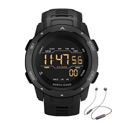 Relógio inteligente para mulheres e homens, relógio esportivo à prova d'água de 5 ATM com luz de fundo LED, pedômetro, calorias, contagem regressiva, para caminhadas e esportes ao ar livre, preto