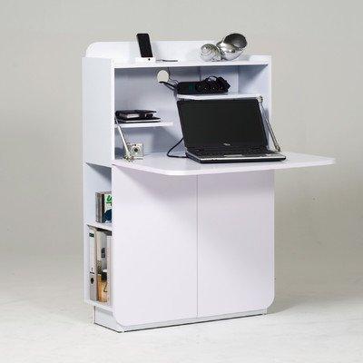 Jahnke CU-CULTURE MC HG-WS Mediencenter/Sekretär, E1-Holzwerkstoffplatten, beschichtet, hochglanz / weiß, 79,5 x 27,8 x 119 cm