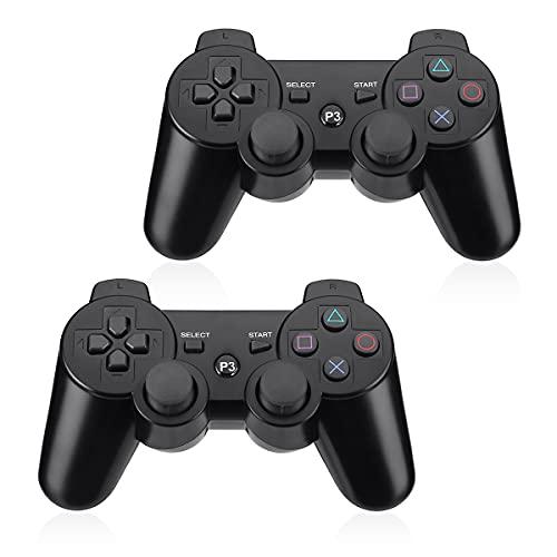 Powerextra Mando Inalámbrico PS3, 2 Pack Wireless Bluetooth Six-Axis Playstation 3 Gamepad Joystick Controlador con Doble Vibración Recargable Controller con Cable para PS3(Negro)
