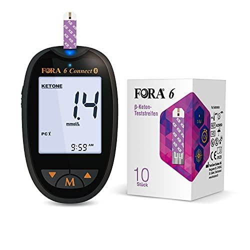 FORA 10pcs β-Keton Teststreifen mit 6 connect Blutzuckermessgerät (mg/dl), Genauen Echtzeitwert der Ketonkörper in Blut, Selbsttest, Früherkennung von Ketoazidose, Keto Ernährung, low Carb Diät *1