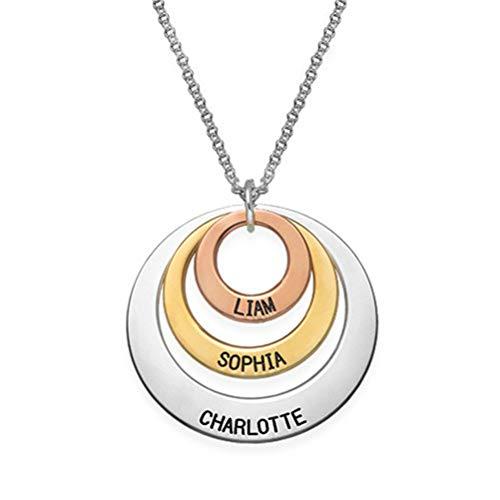 Collana personalizzata con nome personalizzato da uomo e da donna a tre dischi(placcato in oro-base 14)