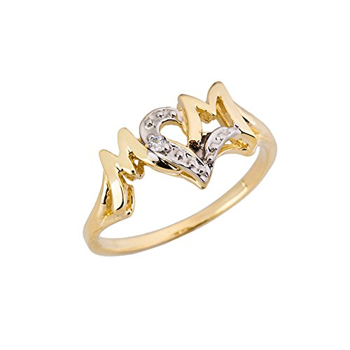 Exquisite 10k Yellow Gold Diamond Heart'Mom' Ring (Size 6.5)