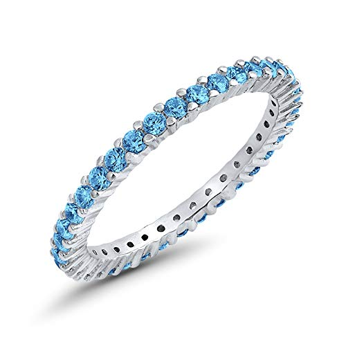 Full Eternity Stackable Wedding Band Ring Simulated Blue Topaz Cubic Zirconia 925 Sterling SilverSize-7