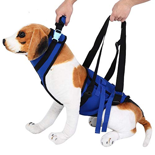 Zerodis Dog Sling Assist Belt, XLarge Polyester Dog Lift Support Harness Blue Adjustable Full Body Lift Harness Walking Strap for Disabled Old Age Dogs(XL-Blue)