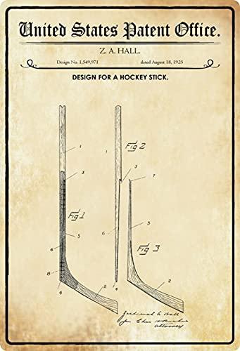 Blechschild 20x30cm gewölbt Patent Entwurf Eishockey Schläger 1925 Deko Geschenk Schild