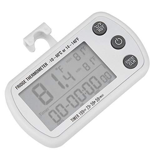 Denkerm Kühlschrank-Thermometer, ℃ / ℉ LED-Kühlschrank-Gefrierschrank-Alarm, digitaler wasserdichter Kühlschrank-Temperaturmesser, für Gefrierschrank-Kühlschrank