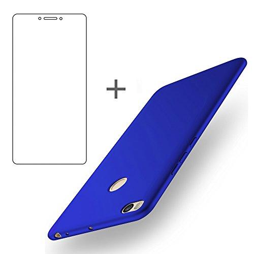 BLUGUL Funda Xiaomi Mi Max 2 + Gratuito Protector de Pantalla, Ultra Delgado, Totalmente Protector, Sensación de Seda, Dura Cover para Xiaomi Max 2 Azul