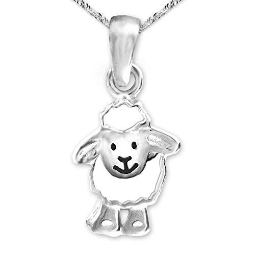 Clever Schmuck Set Silberner Anhänger Schaf lustig lachendes Gesicht weiß und schwarz lackiert glänzend und Kette Singapur 40 cm STERLING SILBER 925