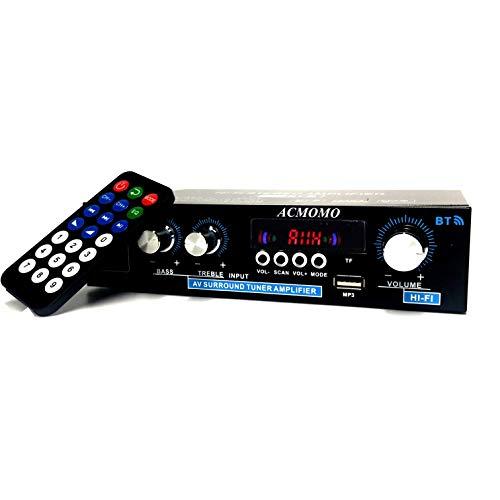 Bluetooth 5.0 Audio Estéreo Amplificador, 2 Canales Mini Hi-Fi Digital Amperio Integrado para los altavoces del hogar 100W x2, Radio FM, SD/USB para PC, Móvil, TV