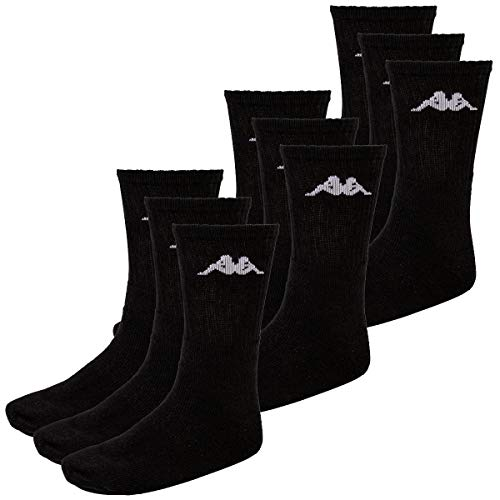 Kappa 9 Paar SONOTU 3 Sportsocken Gr. 35-46 Unisex Tennissocken, Farbe:Black, Socken und Strümpfe:43-46