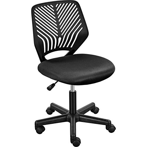 Yaheetech Armless Teens Desk Chairs, Adjustable Mesh Study Chairs, Ergonomic Student's Swivel Chairs Black