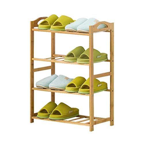 NYKK Closet Entryway Hallway Multi-Layer Bamboo Shoe Rack with Handle Household Storage Rack Simple Shelf (Log Color) Shoe Rack Storage Organizer & Hallway (Color : Four Floors, Size : 50cm)