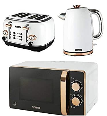 Tower Kitchen Appliance Retro Stylish Set - Rose Gold & White Manual 20 Litre Microwave, Rose Gold & White 1.7 Litre Jug Bottega Kettle & Rose Gold & White Bottega 4 Slice Toaster