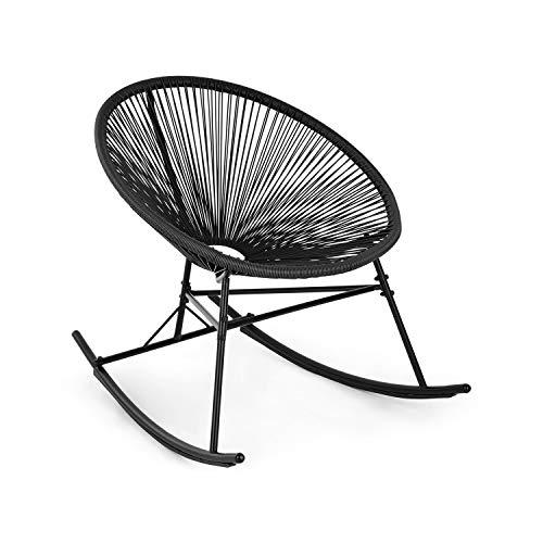 blumfeldt Roqueta Chair Schaukelstuhl - Retro-Design, Bespannung aus 4mm-Geflecht, Material Gestell: pulverbeschichteter Stahl, witterungsbeständig, schwarz