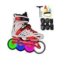 ローラースケート、Inline skate 、大人の屋外フィットネス 楽しいイルミネーション インラインスケートコンボ、 ハイパフォーマンス ローラーブレード 初心者向け 赤と白 (Color : C, Size : 35 EU/4 US/3 UK/22.5cm JP)