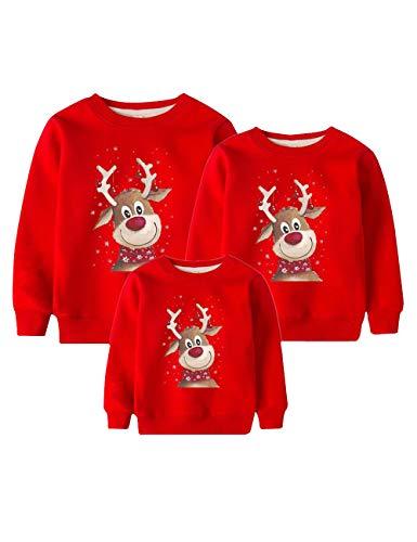 Weihnachtspullover Familie Set, Weihnachten Pullover Damen Herren Rudolph Rentier Elfe Weihnachtspulli Unisex Baby Kinder Mädchen Jungen Elch Christmas Sweatshirt Hirsch Xmas Pulli (Rot,M)