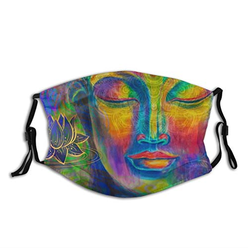 Buddha With Lotus Flowers Face Mask Washable Reusable Mouth Mask Absorb Sweat Cloth Bandana with Two Replaceable Activated Carbon Filters for Anti Dust Haze