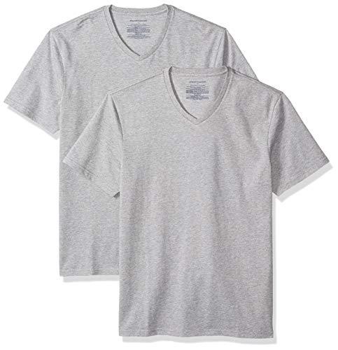 Amazon Essentials – Camiseta con cuello en V para hombre (2 unidades), Gris (Heather Grey Hea), US S (EU S)
