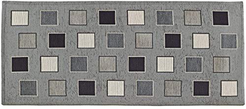 Home Life Alfombra Antideslizante y Resistente a Las Manchas para la Cocina – Moderna Alfombra Lavable Fabricada en Italia –Alfombra Rectangular con diseño de Cuadros (55x110 cm, Gris)