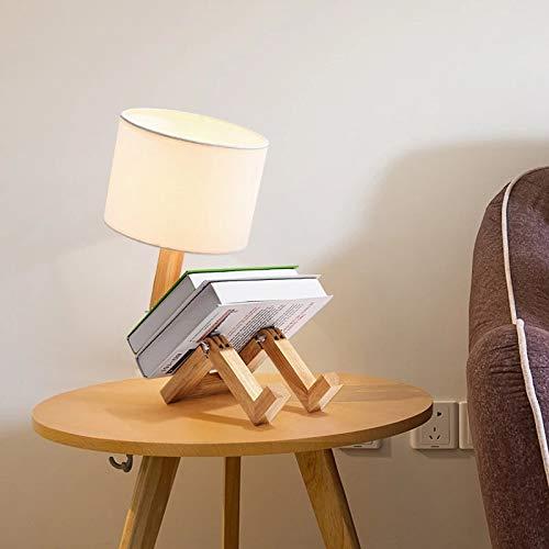 DAXGD Lampade da tavolo in legno Lampada da scrivania a forma di robot creativo, luce di lettura pieghevole regolabile flessibile a LED per camera da letto, sala studio