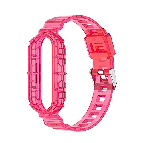 Sunbose La pulsera de TPU transparente que cambia de color es compatible con Mi Band 4/ Mi Band 3. Correas de pulsera intercambiables en varios colores. (Rosa roja transparente)