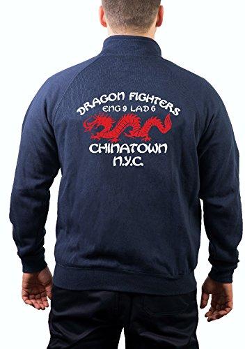 feuer1 Sweatjacke Navy, Dragon Fighters - Chanatown N.Y.C - ENG-9 LAD-6