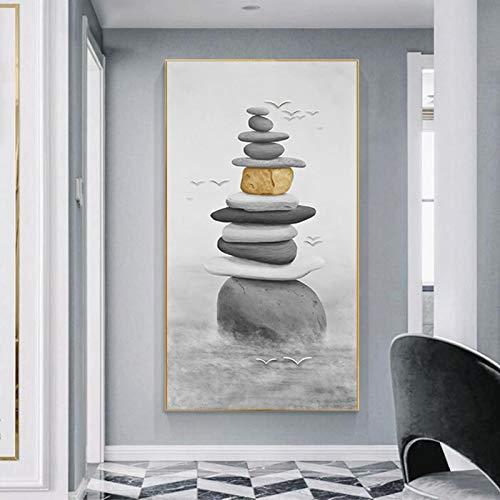 ganlanshu Rahmenlose Malerei Kunstwerk auf Seestein Leinwand, verwendet für zu Hause Schwarz-Weiß-Poster Dekoration MalereiZGQ6000 40X80cm