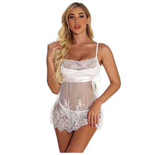 ZHISHIMEIM Sexy Negligee Babydoll Unregelmäßiger Hem Nachtwäsche Spitze Dessous Kleid Nachthemd Lingerie Nachtkleid Reizwäsche G-String Sleepwear