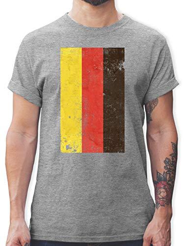 Fussball EM 2021 Fanartikel - Deutschland Flagge Vintage - S - Grau meliert - Deutschland Tshirt Herren Handball - L190 - Tshirt Herren und Männer T-Shirts