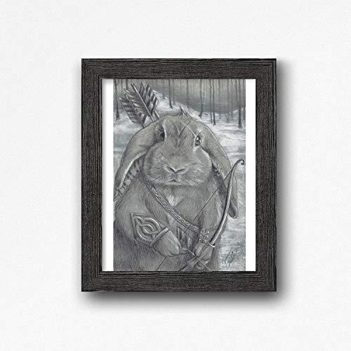 Rabbit Art Print Warrior Art Bunny Art Celtic Knots Bow and Arrow 8x10, 11x14