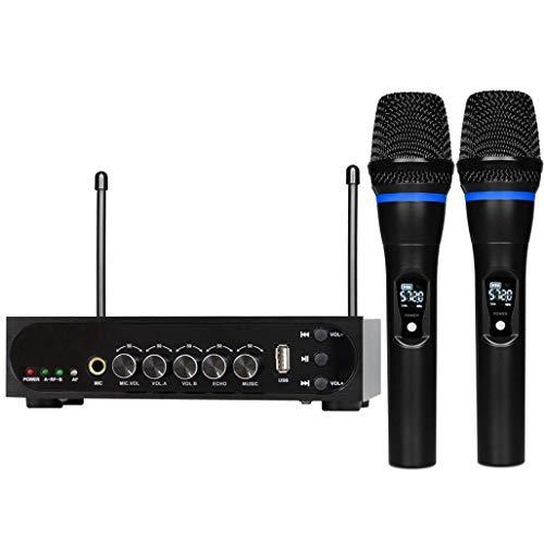 Wireless microfoon karaoke dubbele microfoon met systeem Receiver Set - Professional UHF dynamische handpalm draadloze microfoon met geluidsdemping, USB-MP3 Playback voor spraakzang