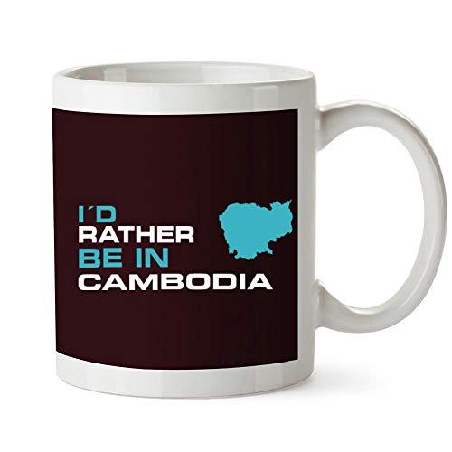 Idakoos I'd rather be in Cambodia Map Taza cerámica 11 onzas