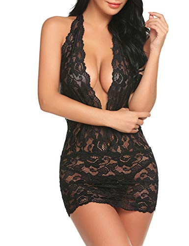Lingerie for Women Sexy Lace Teddy Deep V Halter One Piece Bodysuit Babydoll Plus Size Black XXL Maryland