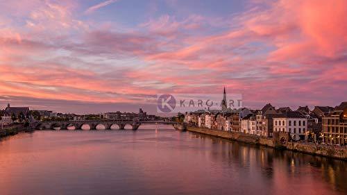Karo-art - Schilderij - Maastricht Zonsondergang, Sint Servaas brug, print op canvas, premium print - Muurdecoratie